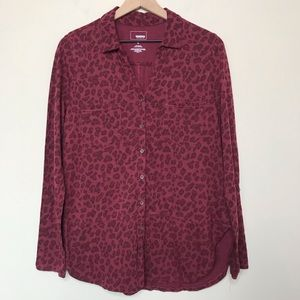 Leopard Print Dark Red Collared Button Down Shirt